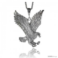 "Sterling Silver Eagle Pendant, 3 1/2"" (89 mm) tall"