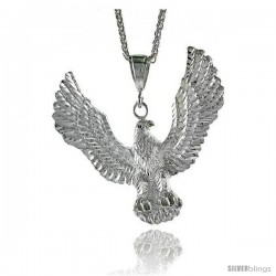 "Sterling Silver Eagle Pendant, 2 11/16"" (74 mm) tall"
