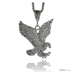 "Sterling Silver Eagle Pendant, 2 5/16"" (59 mm) tall"
