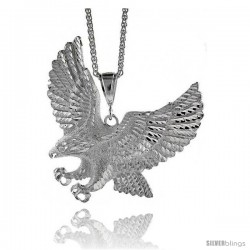 "Sterling Silver Eagle Pendant, 3 7/16"" (88 mm) tall"