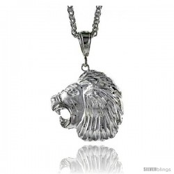 "Sterling Silver Lion's Head Pendant, 1 1/2"" (38 mm) tall"