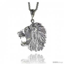 "Sterling Silver Lion's Head Pendant, 2 1/8"" (54 mm) tall"