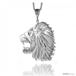 """Sterling Silver Lion's Head Pendant, 3 1/16"""" (78 mm) tall"""