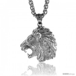 "Sterling Silver Small Lion's Head Pendant, 1"" (25 mm) tall"