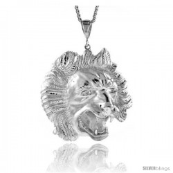 """Sterling Silver Lion's Head Pendant, 3 3/8"""" (86 mm) tall"""