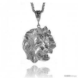"""Sterling Silver Lion's Head Pendant, 1 7/8"""" (48 mm) tall"""