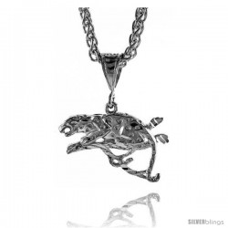 "Sterling Silver Panther Pendant, 11/16"" (21 mm) tall"