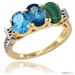 10K Yellow Gold Natural Swiss Blue Topaz, London Blue Topaz & Malachite Ring 3-Stone Oval 7x5 mm Diamond Accent
