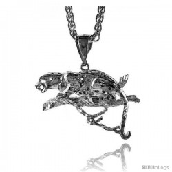 "Sterling Silver Panther Pendant, 1 3/16"" (30 mm) tall"