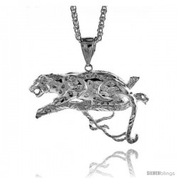 "Sterling Silver Panther Pendant, 1 5/8"" (41 mm) tall"