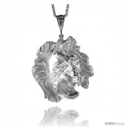 """Sterling Silver Lion's Head Pendant, 2 13/16"""" (71 mm) tall"""