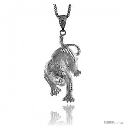 "Sterling Silver Panther Pendant, 3"" (76 mm) tall"