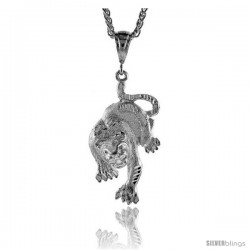 "Sterling Silver Panther Pendant, 2 5/16"" (59 mm) tall"