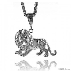 "Sterling Silver Lion Pendant, 1 1/8"" (29 mm) tall"