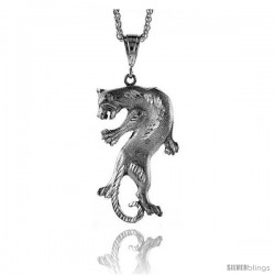 """Sterling Silver Panther Pendant, 2 9/16"""" (65 mm) tall"""