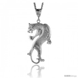 "Sterling Silver Panther Pendant, 3 7/16"" (88 mm) tall"