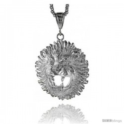 "Sterling Silver Lion's Head Pendant, 2 1/8"" (55 mm) tall"