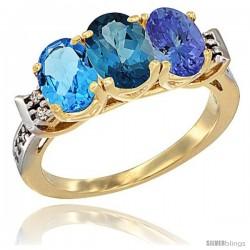 10K Yellow Gold Natural Swiss Blue Topaz, London Blue Topaz & Tanzanite Ring 3-Stone Oval 7x5 mm Diamond Accent
