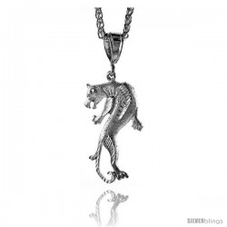 "Sterling Silver Panther Pendant, 1 11/16"" (43 mm) tall -Style Pq556"