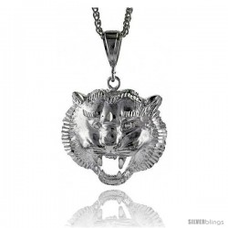 """Sterling Silver Lion's Head Pendant, 2"""" (50 mm) tall"""
