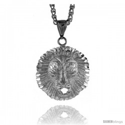 "Sterling Silver Lion's Head Pendant, 1 3/8"" (35 mm) tall"