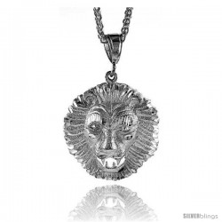 "Sterling Silver Lion's Head Pendant, 1 11/16"" (43 mm) tall"