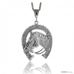 "Sterling Silver Horse Pendant, 2 11/16"" (68 mm) tall"