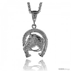 "Sterling Silver Horse Pendant, 1 5/16"" (34 mm) tall"