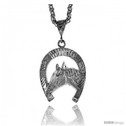 "Sterling Silver Horse Pendant, 1 3/8"" (35 mm) tall"