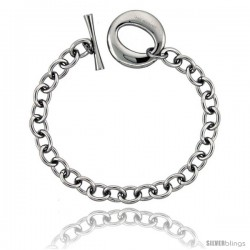 Stainless Steel Large Oval Toggle Clasp Cable Link Bracelet 7/8 in wide, 8.25 in ling