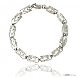 Sterling Silver Cut Out Diamond Bullet Chain (Available in Different Lengths), 1/4 in. (6 mm) wide