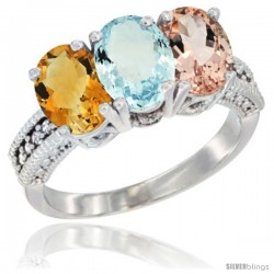 14K White Gold Natural Citrine, Aquamarine & Morganite Ring 3-Stone 7x5 mm Oval Diamond Accent