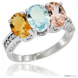 14K White Gold Natural Citrine, Aquamarine & Morganite Ring 3-Stone 7x5 mm Oval Diamond Accent