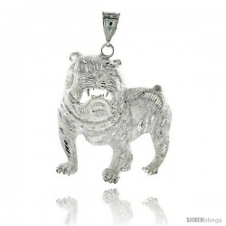"Sterling Silver Bulldog Pendant, 2 11/16"" (68 mm) tall"