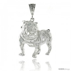 "Sterling Silver Bulldog Pendant, 1 15/16"" (49 mm) tall"