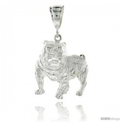 "Sterling Silver Bulldog Pendant, 1 1/2"" (38 mm) tall"