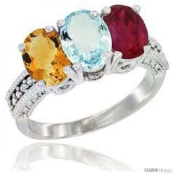 14K White Gold Natural Citrine, Aquamarine & Ruby Ring 3-Stone 7x5 mm Oval Diamond Accent
