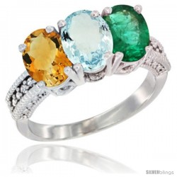 14K White Gold Natural Citrine, Aquamarine & Emerald Ring 3-Stone 7x5 mm Oval Diamond Accent