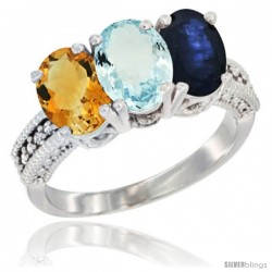 14K White Gold Natural Citrine, Aquamarine & Blue Sapphire Ring 3-Stone 7x5 mm Oval Diamond Accent