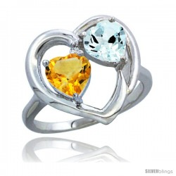 14k White Gold 2-Stone Heart Ring 6mm Natural Citrine & Aquamarine Diamond Accent