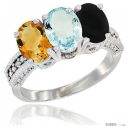 14K White Gold Natural Citrine, Aquamarine & Black Onyx Ring 3-Stone 7x5 mm Oval Diamond Accent