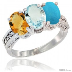 14K White Gold Natural Citrine, Aquamarine & Turquoise Ring 3-Stone 7x5 mm Oval Diamond Accent