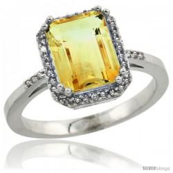 14k White Gold Diamond Citrine Ring 2.53 ct Emerald Shape 9x7 mm, 1/2 in wide