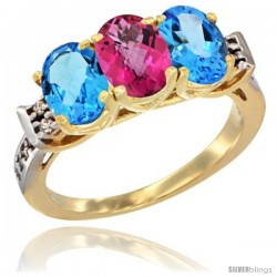 10K Yellow Gold Natural Pink Topaz & Swiss Blue Topaz Sides Ring 3-Stone Oval 7x5 mm Diamond Accent