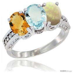 14K White Gold Natural Citrine, Aquamarine & Opal Ring 3-Stone 7x5 mm Oval Diamond Accent