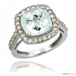 10k White Gold Diamond Halo Aquamarine Ring Checkerboard Cushion 9 mm 2.4 ct 1/2 in wide