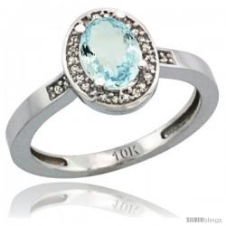 10k White Gold Diamond Aquamarine Ring 1 ct 7x5 Stone 1/2 in wide