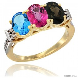 10K Yellow Gold Natural Swiss Blue Topaz, Pink Topaz & Smoky Topaz Ring 3-Stone Oval 7x5 mm Diamond Accent