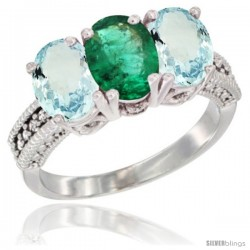 10K White Gold Natural Emerald & Aquamarine Sides Ring 3-Stone Oval 7x5 mm Diamond Accent