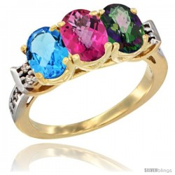 10K Yellow Gold Natural Swiss Blue Topaz, Pink Topaz & Mystic Topaz Ring 3-Stone Oval 7x5 mm Diamond Accent